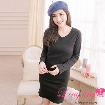lingling中大尺碼 V領平織細坑條長袖洋裝(簡約黑)A2004-04