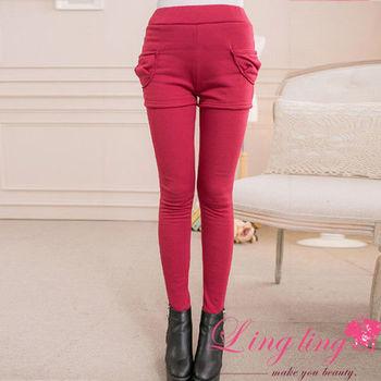 lingling中大尺碼 側口袋假兩件刷絨毛內搭褲(繽紛紅)A2000