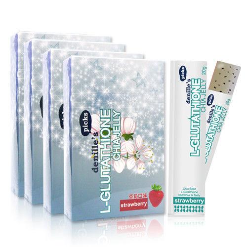 【denilles picks】穀胱甘?閃耀凍-草莓口味4盒組(共40支)