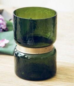 歐式複古綠色花瓶客廳玻璃花瓶假花絹花裝飾品擺件01