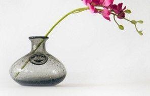 煙灰色氣泡花瓶客廳透明玻璃花瓶花器裝飾工藝品擺件05