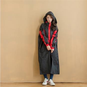 奧德蒙戶外機能特仕OutPerform-勁馳率性款連身式風雨衣-黑/紅
