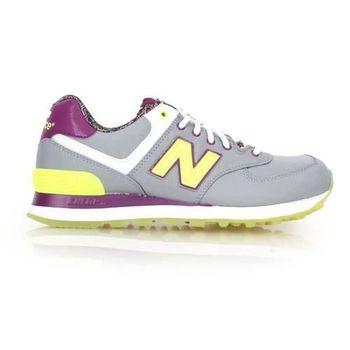 【NEWBALANCE】574 女復古休閒鞋  走路 NB N字鞋 淺灰螢光綠紫