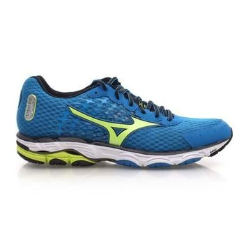 【MIZUNO】WAVE INSPIRE 11 男慢跑鞋- 路跑 美津濃 藍芥末綠
