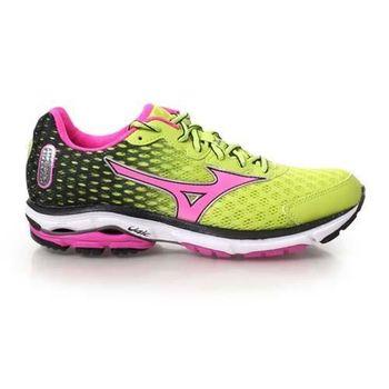 【MIZUNO】WAVE RIDER 18 女慢跑鞋 - 路跑 美津濃 青綠桃紅
