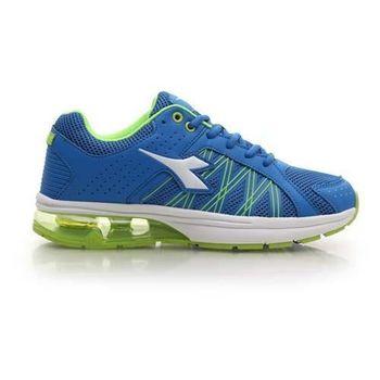 【DIADORA】男氣墊慢跑鞋-路跑 寬楦 運動鞋 休閒鞋 藍芥末綠