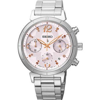 SEIKO LUKIA 花漾綻放太陽能計時碼錶-粉紅/35mm V175-0CZ0S(SSC857J1)