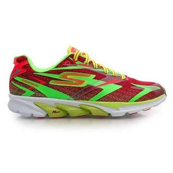【SKECHERS】GO RUN 4 女慢跑鞋- 路跑 附鞋墊 紅螢光綠