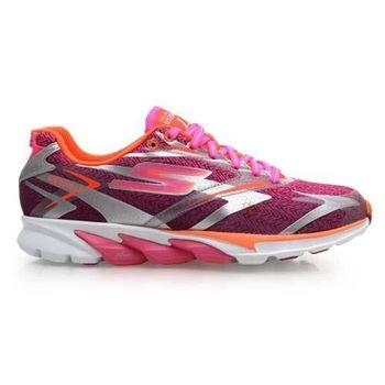 【SKECHERS】GO RUN 4 女慢跑鞋- 路跑 附鞋墊 紫亮橘螢光粉