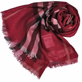 BURBERRY經典大格紋羊毛絲綢披肩/圍巾(紅色)