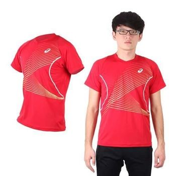 【ASICS】男排球練習T恤 - 短袖T恤 短T 亞瑟士 紅白金