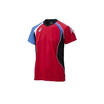 【ASICS】男短袖練習T恤- 排球 亞瑟士 紅藍白
