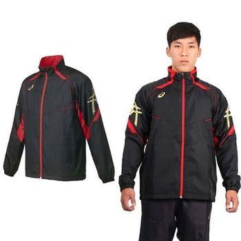 【ASICS】男背部保暖風衣外套 - 立領 刷毛 防風 亞瑟士 黑紅金