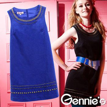 【Gennie's奇妮】氣質古典珠飾秋冬羊毛孕婦背心洋裝(G2Y23)藍-M