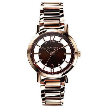 RELAX TIME RT56 輕熟風格系列鏤空腕錶-咖啡x玫瑰金/36mm RT-56-11