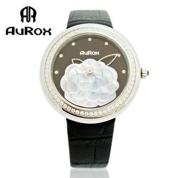 AuRox歐銳時 山茶花貝殼浮雕不銹鋼石英鑽錶(AR1121-黑搪瓷)