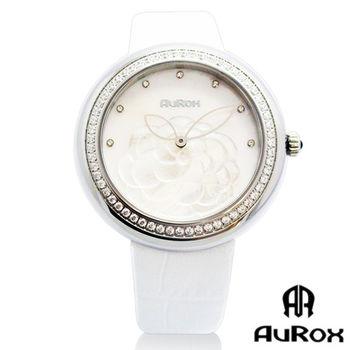 AuRox歐銳時 山茶花貝殼浮雕不銹鋼石英鑽錶(AR1121-珍珠白)
