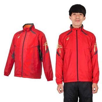 【ASICS】男背部保暖風衣外套 - 立領 刷毛 防風 亞瑟士 紅金