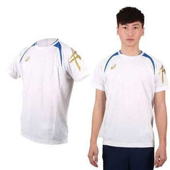【ASICS】男短袖T恤-短T 圓領 慢跑 路跑 亞瑟士 白藍