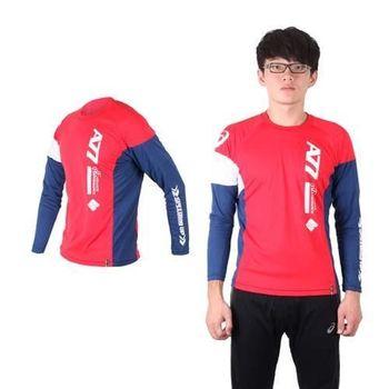 【ASICS】男長袖T恤 - 路跑 慢跑 亞瑟士 紅藍白