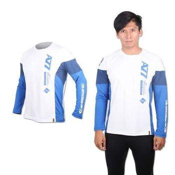 【ASICS】男長袖T恤 - 路跑 慢跑 亞瑟士 白藍