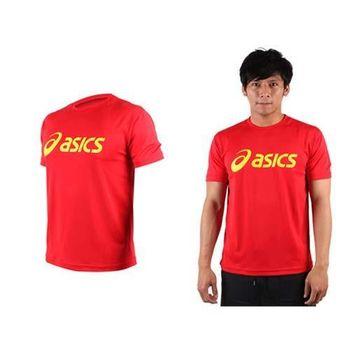 【ASICS】LOGO 男短袖T恤-慢跑 路跑 亞瑟士  紅黃