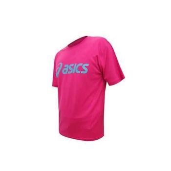 【ASICS】LOGO 男短袖T恤-慢跑 路跑 亞瑟士  桃紅湖水藍