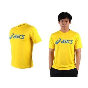 【ASICS】LOGO 男短袖T恤-慢跑 路跑 亞瑟士  黃藍