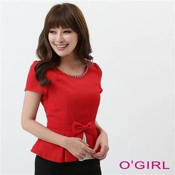 OGIRL優雅經典款蝴蝶結上衣(紅)