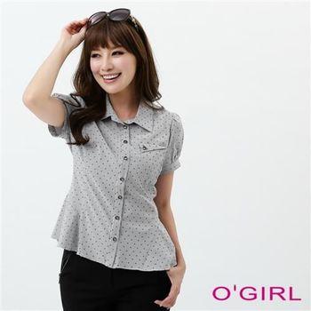 OGIRL星點口袋修身襯衫(黑)