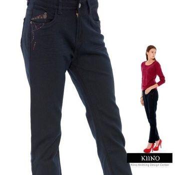 【KIINO】雅致腰間繡花厚磅保暖休閒褲 藍8002