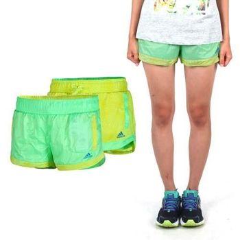 【ADIDAS】女雙面運動短褲-慢跑 路跑 愛迪達 青綠黃