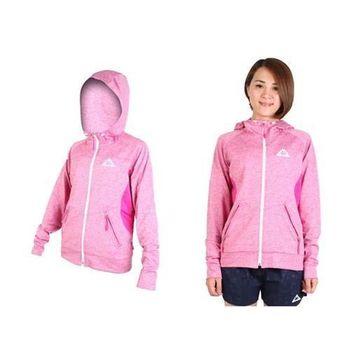 【KAPPA】女運動外套-連帽外套 針織 桃紅白