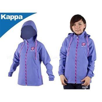 【KAPPA】女連帽單層風衣外套-可拆帽子  紫