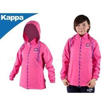 【KAPPA】女連帽單層風衣外套-可拆帽子  粉紅