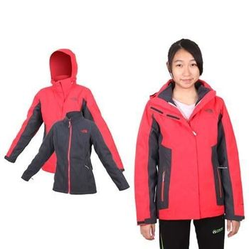 【THE NORTH FACE】女HV刷毛兩件式外套 - 登山 露營 紅墨灰