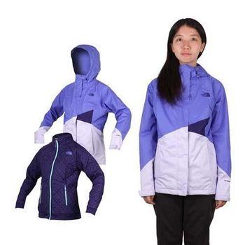 【THE NORTH FACE】女HV HS兩件式外套  立領 防風 保暖 芋紫藍