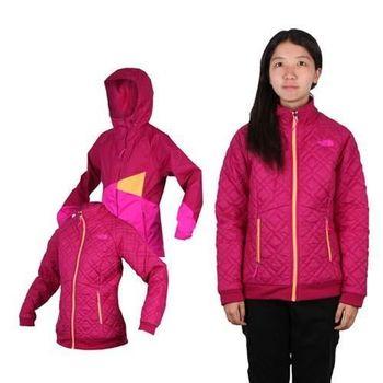 【THE NORTH FACE】女HV HS兩件式外套 立領 防風 保暖 紫亮桃紅