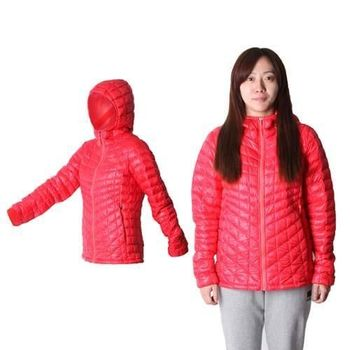 【THE NORTH FACE】女TB保暖連帽外套 - 運動外套 暖魔球 橘紅