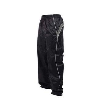 【KAPPA】男防風長褲-運動長褲 雙層風褲 防潑水 黑白