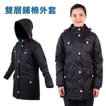 【KAPPA】女雙層外套-鋪棉 保暖 防風 防潑水 風衣 黑桃紅
