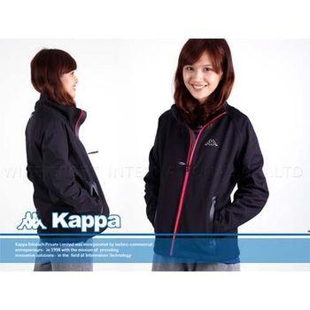 【KAPPA】女防風防水外套-第七代鯊魚夾克  黑
