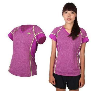 【THE NORTH FACE】女FLASHDRY短袖T恤 路跑 快乾 紫螢光綠
