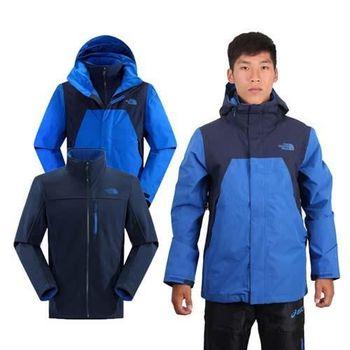 【THE NORTH FACE】男兩件式外套 GORE TEX 寶藍丈青