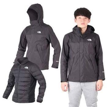 【THE NORTH FACE】男羽絨兩件式外套 保暖 GORE TEX 黑淺灰