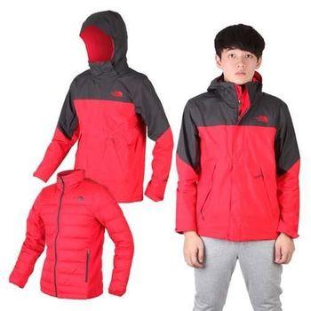 【THE NORTH FACE】男羽絨兩件式外套 保暖 GORE TEX 紅墨灰