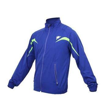 【KAPPA】男慢跑風衣外套 -路跑 防風 立領 寶藍綠