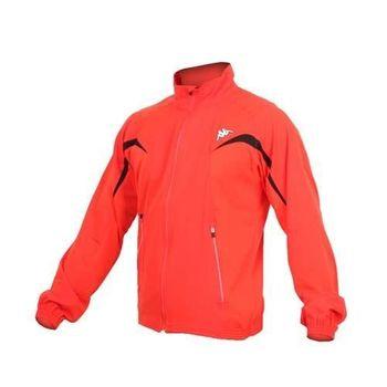 【KAPPA】男慢跑風衣外套 -路跑 防風 立領 橘白黑