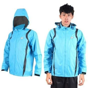 【KAPPA】男防風外套-連帽外套 風衣外套 防風 防潑水 雙層 天藍