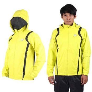 【KAPPA】男防風外套-連帽外套 風衣外套 防風 防潑水 雙層 芥末黃黑
